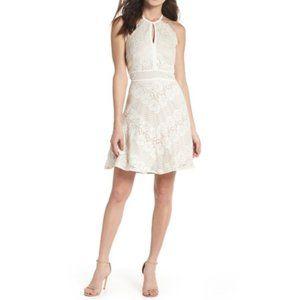 Morgan&Co Women Sz 8 Ivory/ Nude Lace Dress 12383D